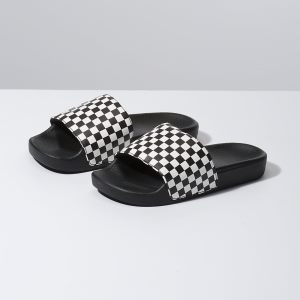 Dievcenske Sandale Vans Checkerboard Slide-On Jr Biele | HTX-378